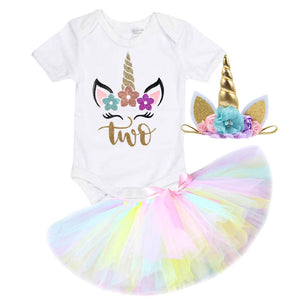 Rainbow Unicorn Second Birthday Outfit - Lullaby Lane Design