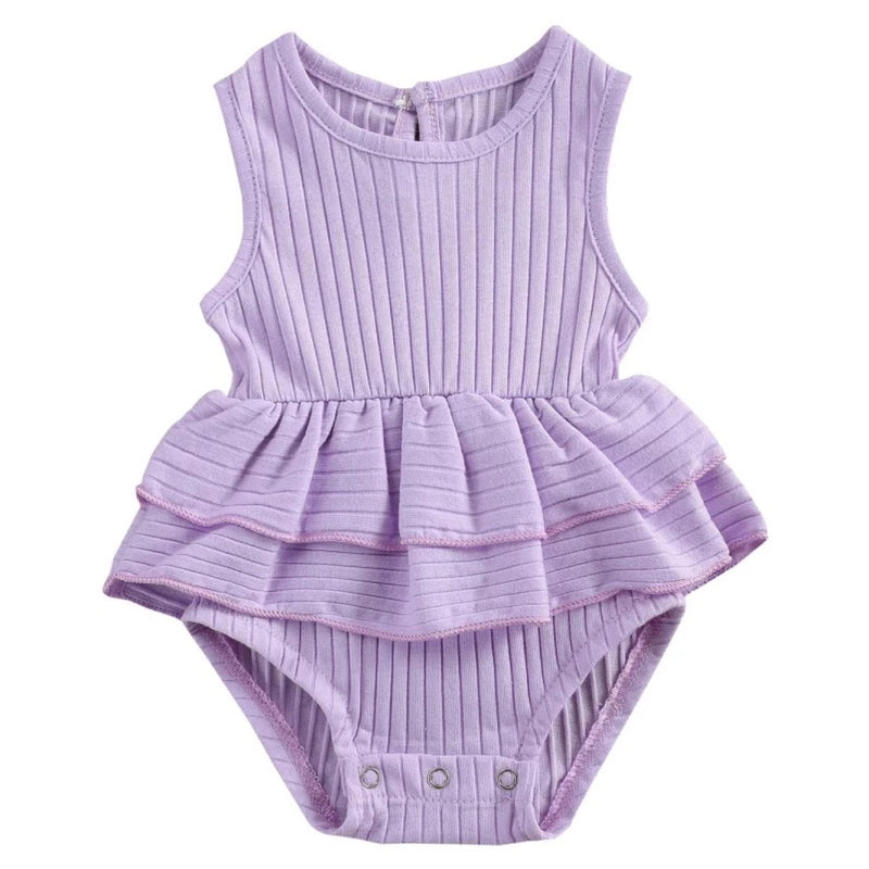 Ribbed Lilac Frilly Romper