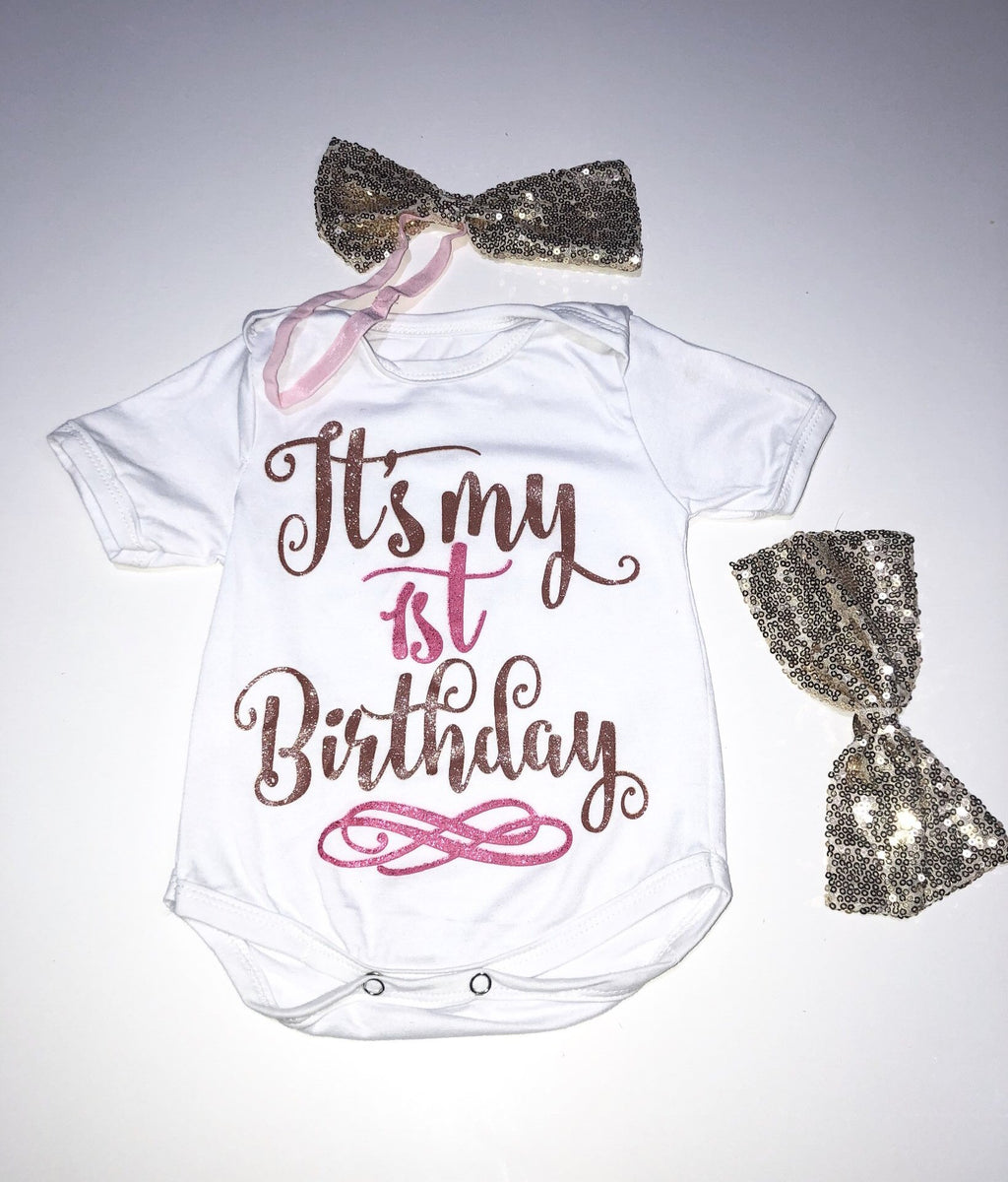 1st Birthday Bodysuit + 2 Bows