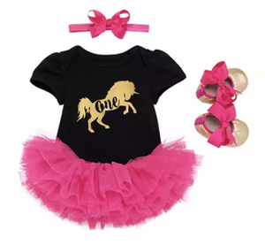 Black & Pink Unicorn 1st Birthday Set