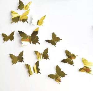 Gold Metallic Butterfly Wall Stickers (Set of 12)