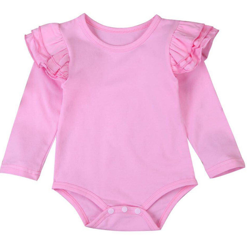 Pink Long Sleeve Flutter Bodysuit