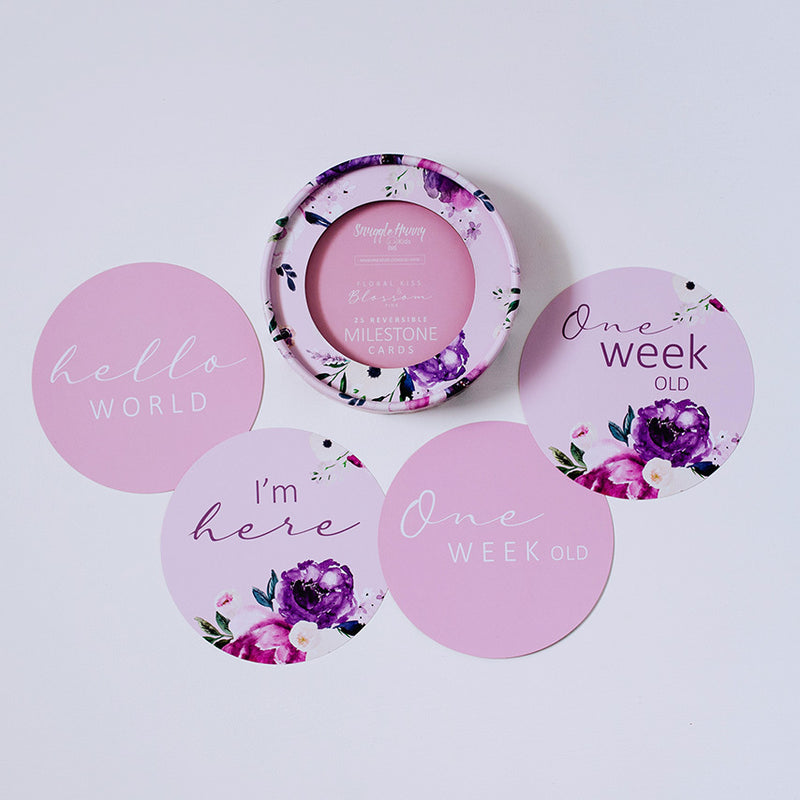 Floral Kiss & Blossom Pink Reversible Milestone Cards