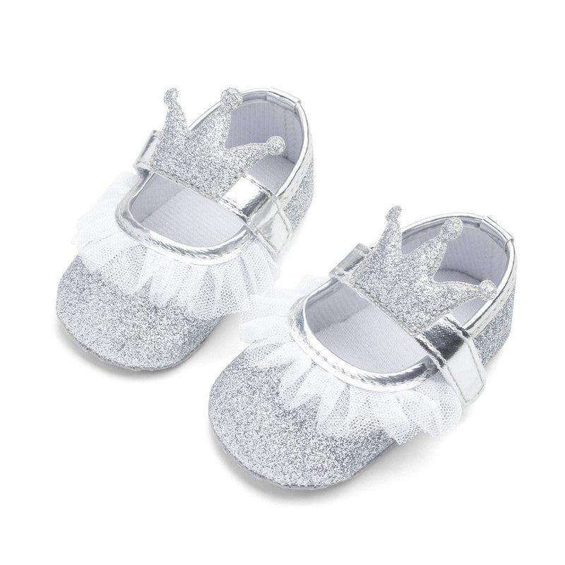 Silver Glitter Crown Shoes