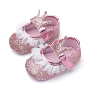 Pink Glitter Crown Shoes