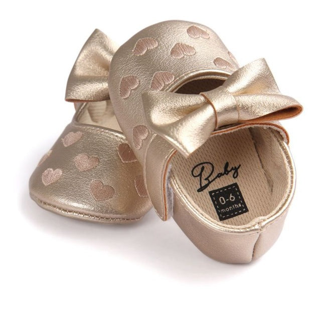 Gold Moccasins Heart Bow Shoes