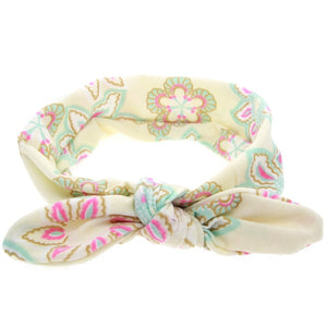 Cream Floral Bowknot Headband