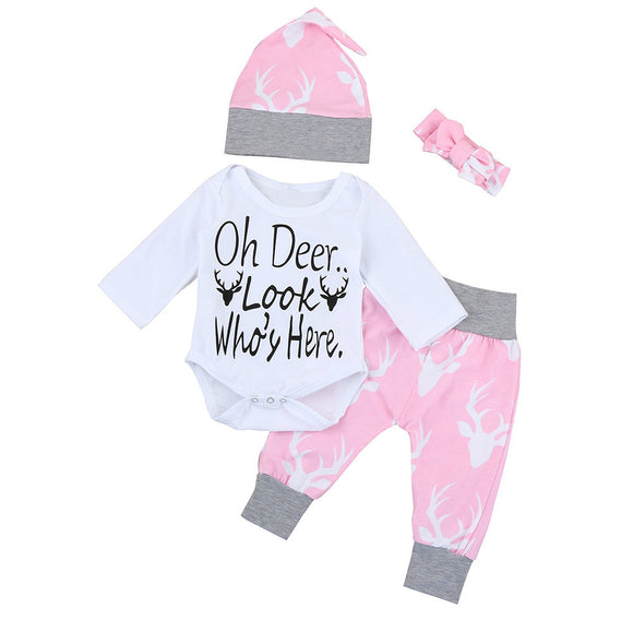 4pcs/ Set Autumn 2017 Newborn Baby Boy Girls Tops Long Sleeve Romper+ DeerLong Pants +Hat +Headband Outfits Clothes 0-24M