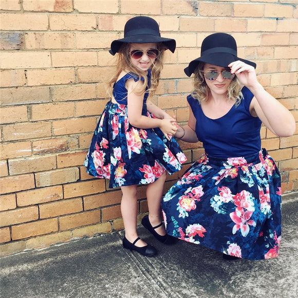 Blue Floral Matching Dresses