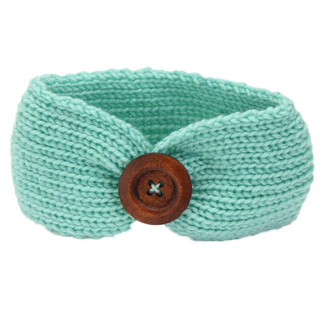 Green Knitted Button Headband
