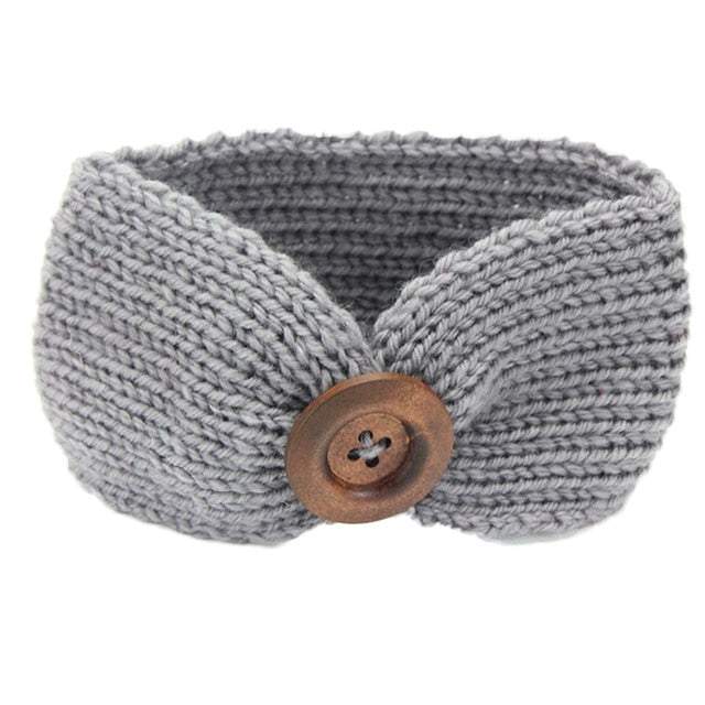 Gray Knitted Button Headband