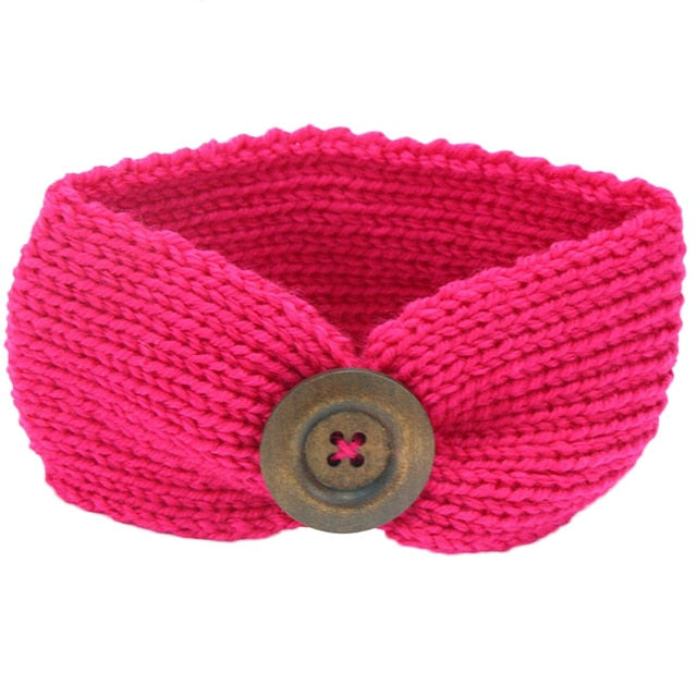Red Knitted Button Headband