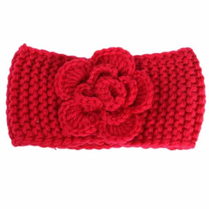 Red Knitted Flower Headband