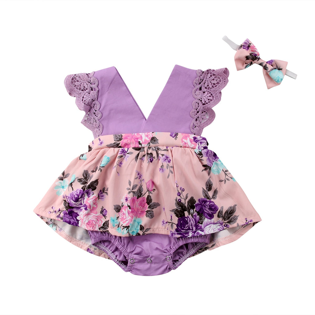 Purple Flutter Dress Romper