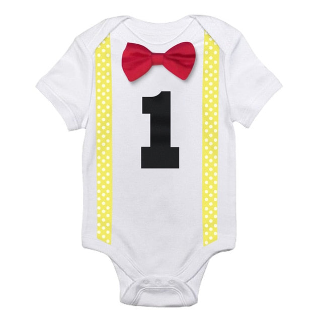 Yellow & Red Bow Tie Onesie