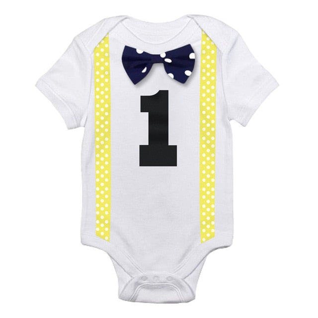 Yellow & Blue Bow Tie Onesie