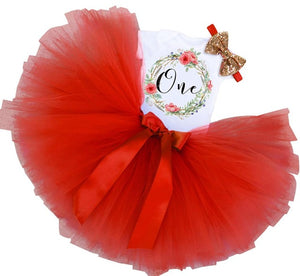 Red Flower Birthday Dress