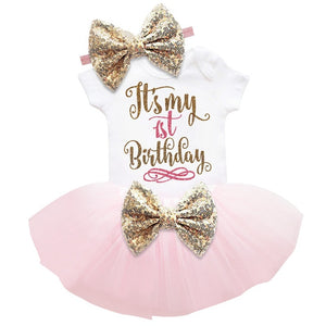 Baby Pink 1st Bow Birthday Dress