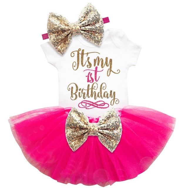Pink 1st Bow Birthday Dress