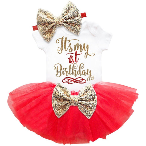 Red 1st Bow Birthday Dress