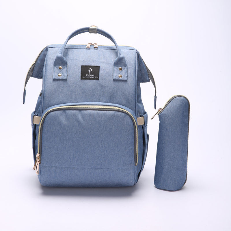 Blue Nappy Bag With USB Interface + Bottle Warmer