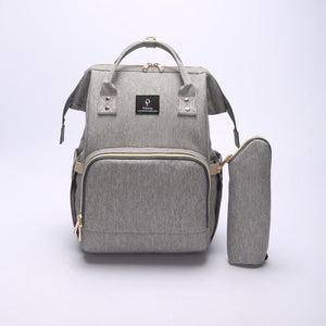 Gray Nappy Bag With USB Interface + Bottle Warmer