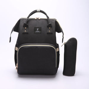 Black Nappy Bag With USB Interface + Bottle Warmer