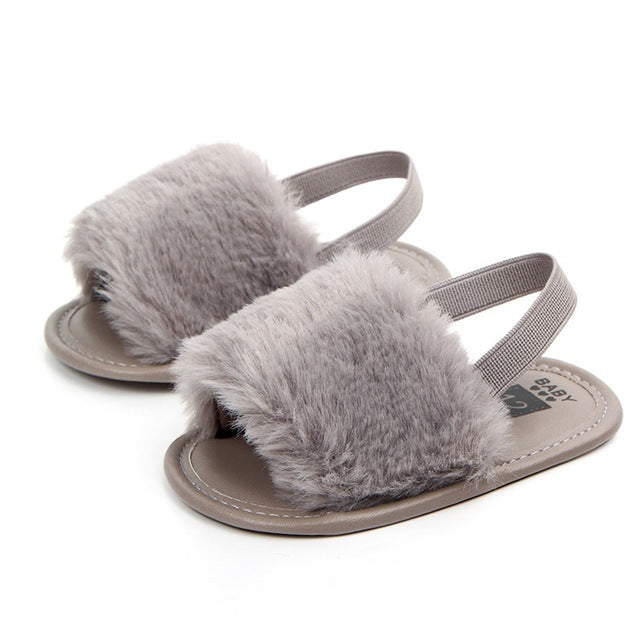 Dark Gray Fluffy Slide Ons