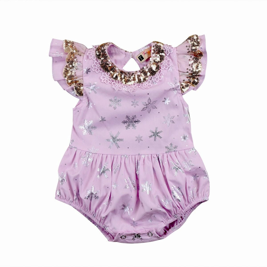 Dainty Angel Snowflakes Romper - Lilac
