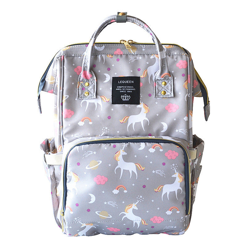 Gray Unicorn Nappy Bag