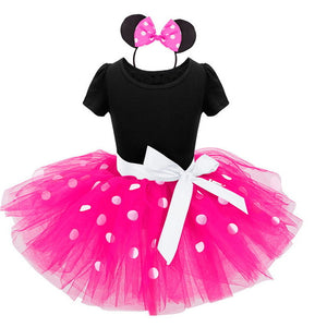 Pink Minnie Mouse Dress + Headband