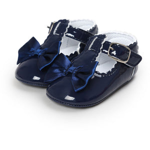 Navy Bowknot Strap Moccasins
