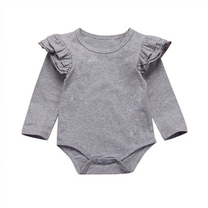 Gray Long Sleeve Flutter Bodysuit