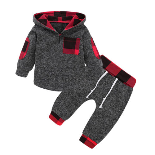 Gray/Red Plaid Set