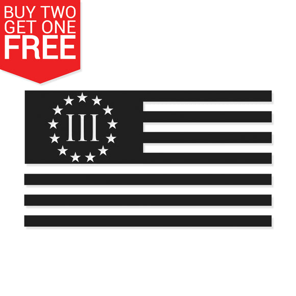 3 Percent American Flag Vinyl Decal - 8 Bit Decals