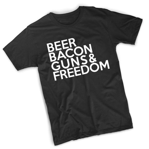 Beer Bacon Guns & Freedom T-Shirt - 8 Bit Decals