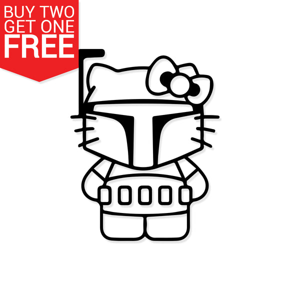 Hello Kitty Boba Fett Vinyl Decal - 8 Bit Decals