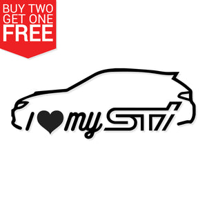 I Heart My STi Outline Vinyl Decal - 8 Bit Decals