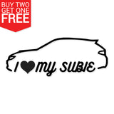 I Heart My Subie Outline Vinyl Decal - 8 Bit Decals