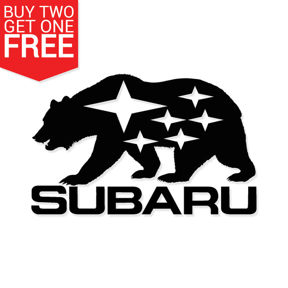 California Subaru Bear Vinyl Decal - 8 Bit Decals