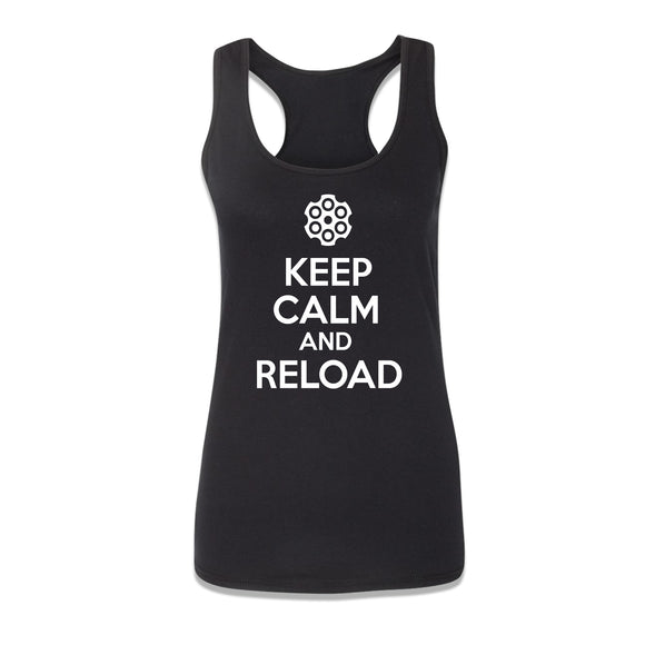 Keep Calm and Reload Womens Racerback - 8 Bit Decals