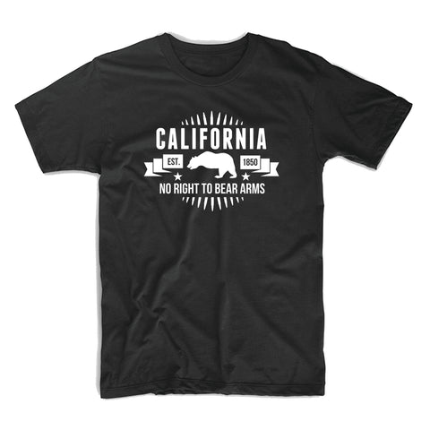 California No Right To Bear Arms T-Shirt - 8 Bit Decals