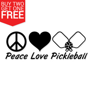 Peace, Love, Pickleball Vinyl Decal - 8 Bit Decals
