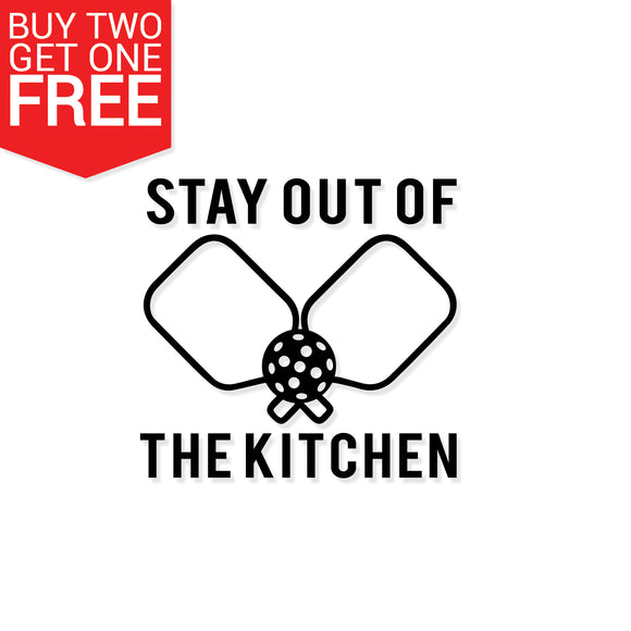 Stay Out Of The Kitchen Pickleball Vinyl Decal - 8 Bit Decals