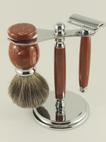 3 Piece Shaving Set - Coral #1889