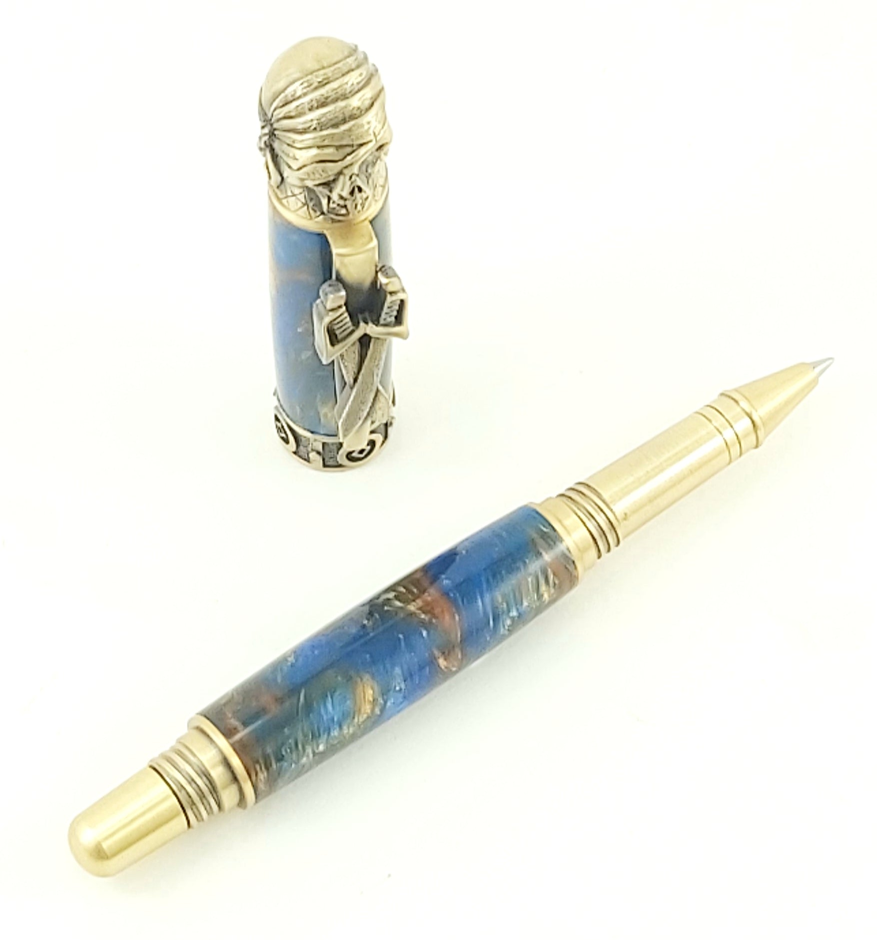 Pirate Pen - 2463 - Antique Brass with Sunken Treasure Acrylic