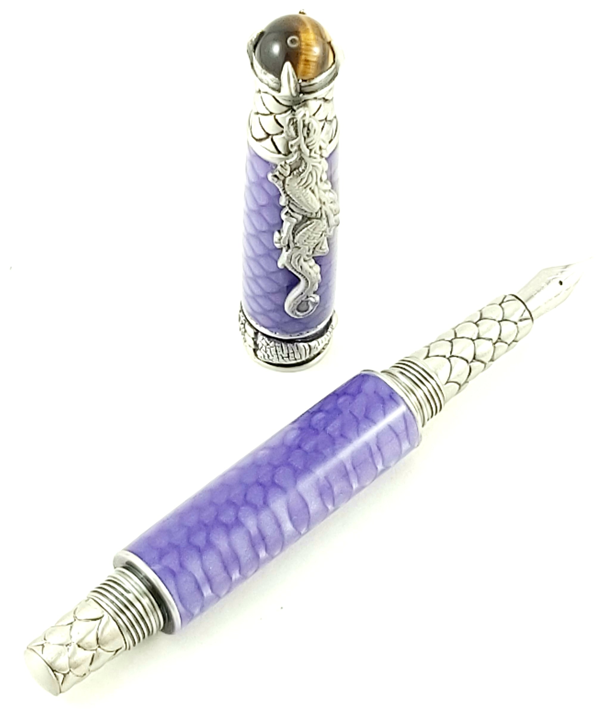 Antique Pewter Dragon Fountain Pen #2484