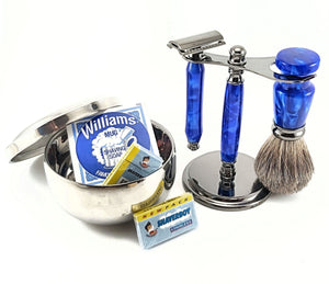 3 Piece Shaving Set - Blue Macaw #2789