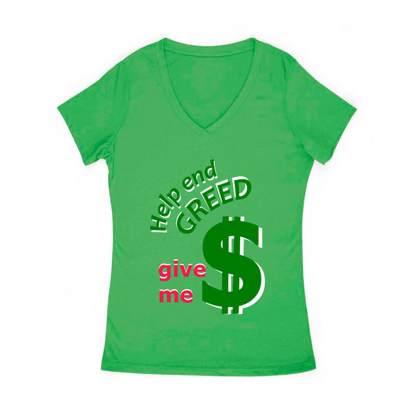 Help End Green Women's V Neck