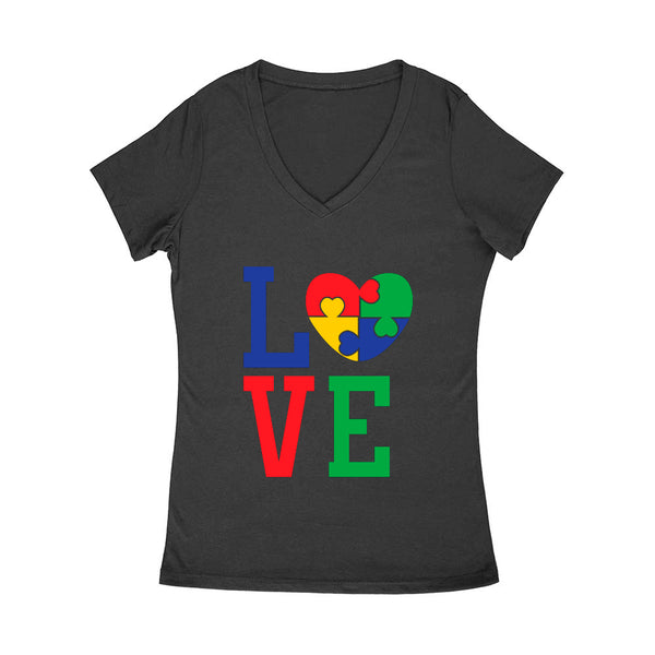 Love Heart Puzzle Women's V Neck
